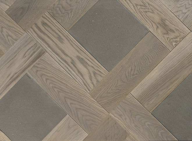 Cashmere and Concrete Wood Parquet With Stone