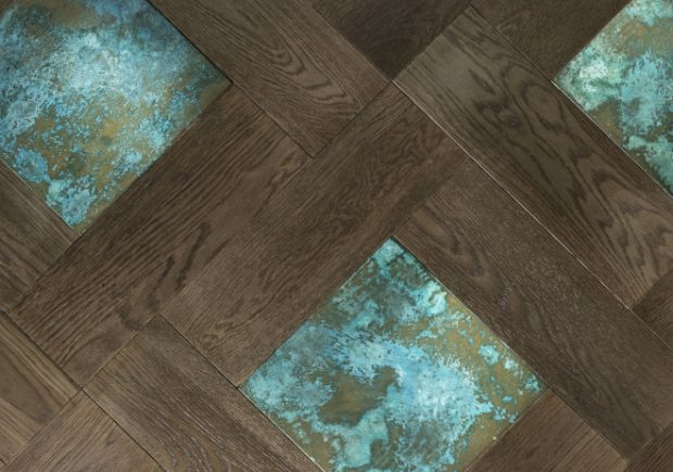 Parquet With Metal Dk Smoked Oak & Tarnished Brass