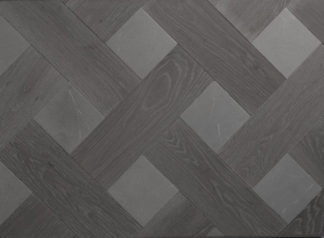 Elephant Hide & Grey Marble Wood Parquet With Stone