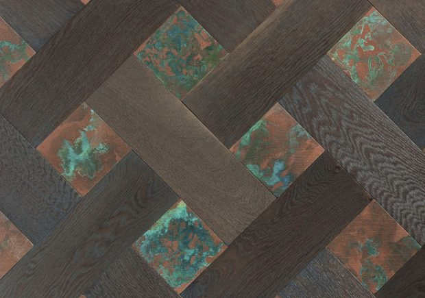 Parquet With Metal Jade & Corroded Copper
