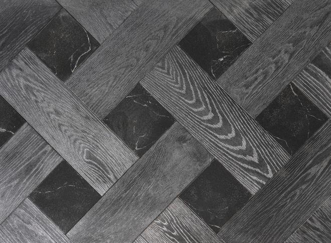 Midnight & Black Marble Wood Parquet With Stone