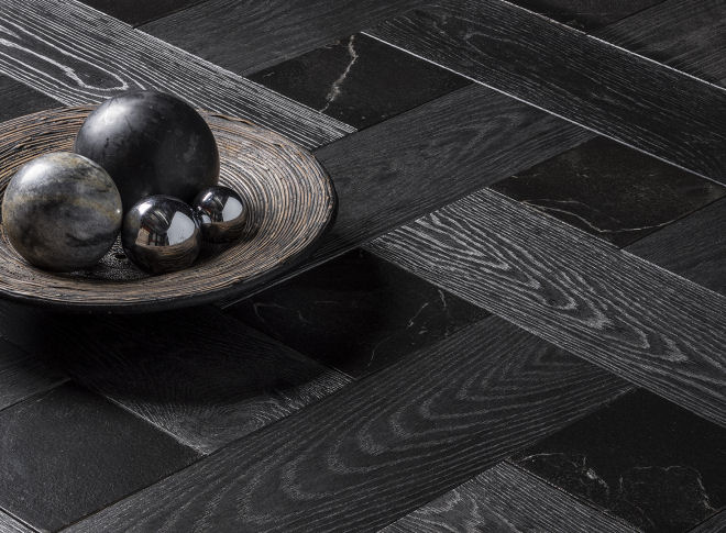 Wood Parquet With Stone
