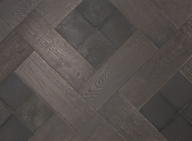 Raven and Slate Wood Parquet With Stone