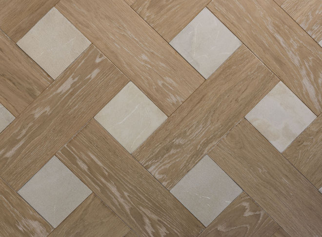 White Marble & Chalked Oak Wood Parquet With Stone